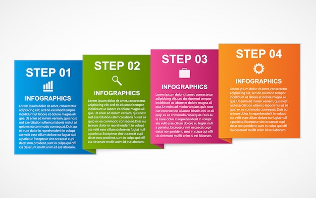 Infografica quadrati colorati per presentazioni aziendali.