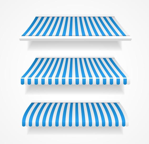 Tende da sole a righe colorate per negozio set blu