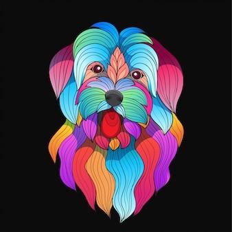Cane di razza maltese vettoriale stilizzato colorato