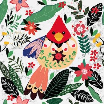 Colorato uccello estivo nel giardino fiorito