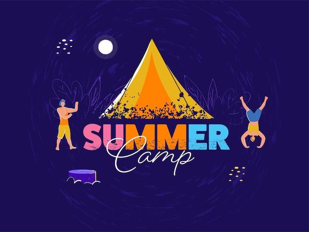 Carattere colorato campo estivo con tenda texture pennello e uomini del fumetto che ballano su sfondo viola.