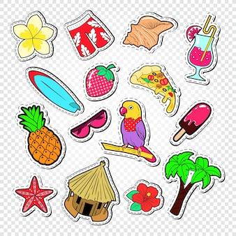 Elementi variopinti di doodle di estate
