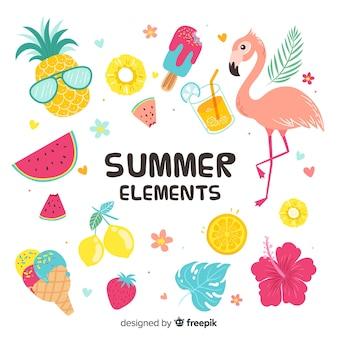Collezione di elementi colorati estivi Vettore Premium