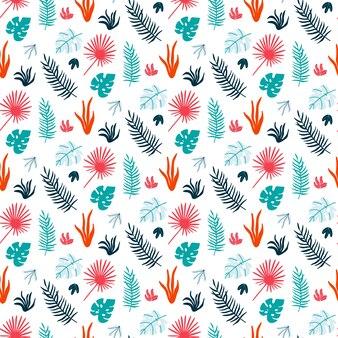 Stampa colorata estate con foglie tropicali.
