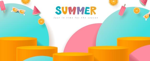 Banner di saldi estivi colorati con forma cilindrica di visualizzazione del prodotto