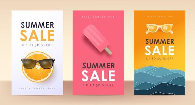 Banner di poster di layout di vendita estiva colorata
