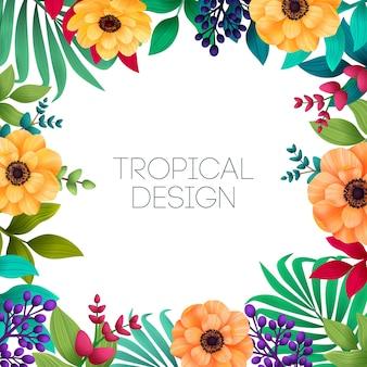Colorato tropicale estivo con foglie di palma e fiori esotici