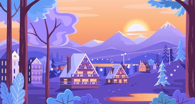 Tramonto colorato in un villaggio di località sciistiche di montagna con lago del parco della funivia e case carine