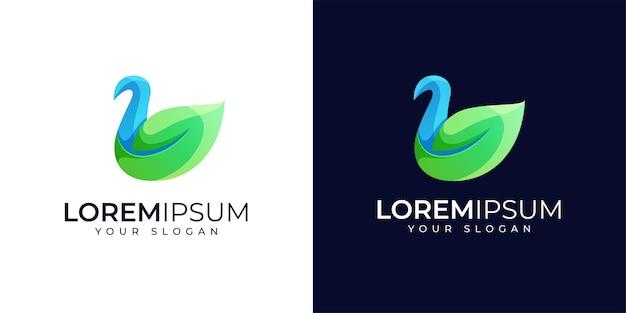 Ispirazione per il design del logo di cigno colorato e foglia di natura