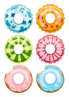 Set di anelli da bagno colorati. giocattolo di gomma inabile. cerchio nuotatore con texture diversa. raccolta di icone. illustrazione su sfondo bianco