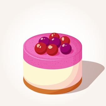 Colorful cheesecake gustoso con bacche in stile cartone animato.
