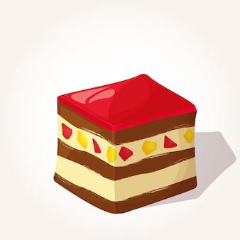 Colorful gustoso pezzo di torta con gelatina in stile cartoon.