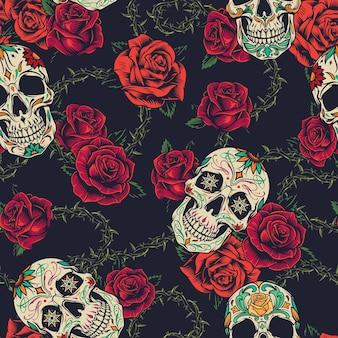 Tatuaggi colorati senza cuciture con rose in fiore, teschi di zucchero e filo spinato
