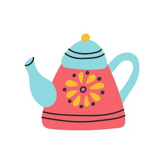 Teiera colorata con motivo. illustrazione vettoriale in stile doodle piatto su sfondo bianco.