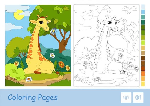 Modello colorato, illustrazione di contorno incolore di una giraffa che mangia un fiore in un bosco e tavolozza suggerita dalla parte di destra. attività di sviluppo di animali selvatici e mammiferi per bambini.