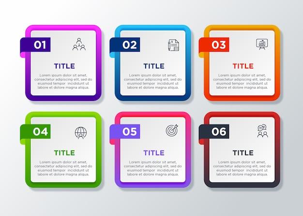 Elemento di design infografica modello colorato con 6 passaggi