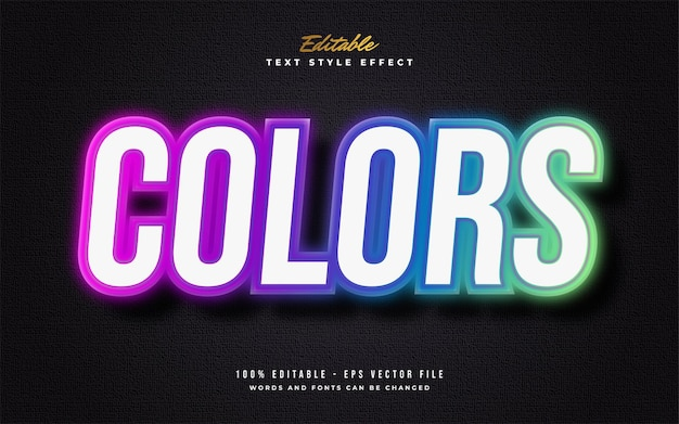 Stile di testo colorato con effetto neon isolato su sfondo scuro. effetto stile testo modificabile