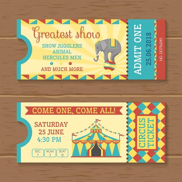 Biglietti colorati per spettacolo circense
