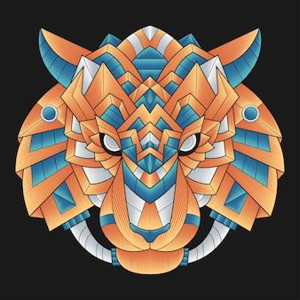 Testa di tigre colorata