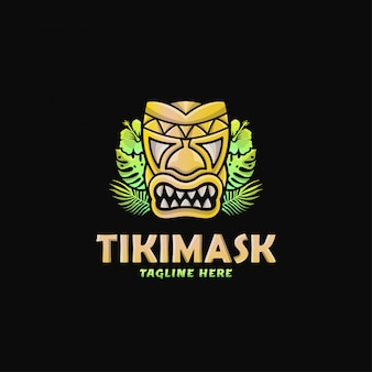Maschera variopinta tiki mask logo design vector illustration