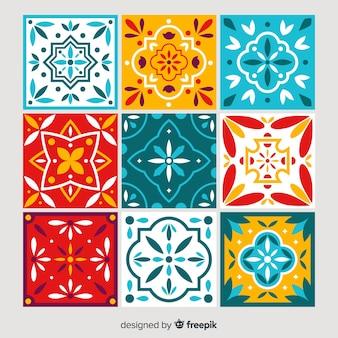 Collezione di piastrelle colorate con design piatto