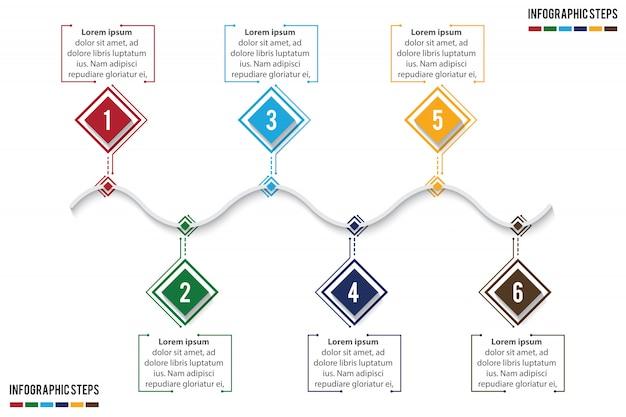 Timeline colorato infografica con 6 passaggi soggiorno