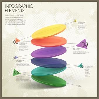 Elementi infografici colorati traslucidi dinamici del grafico a torta