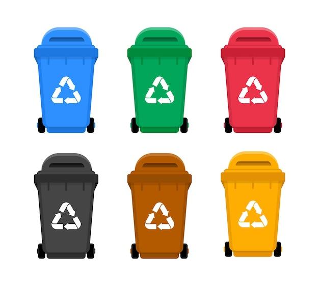 Bidoni della spazzatura colorati con riciclaggio. contenitori per raccolta differenziata.