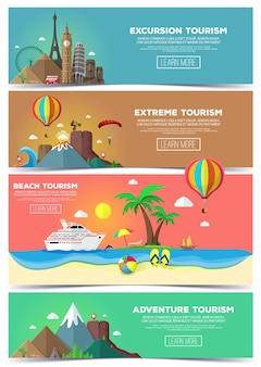 Banner colorato di viaggi e turismo impostato in stile piano