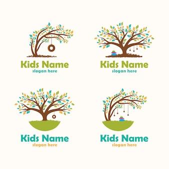 Albero colorato child care logo ispirazione design piatto collezione