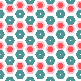 Fondo senza cuciture di esagono geometrico alla moda colorato isolato in bianco