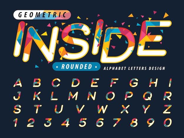 Caratteri triangolari colorati set di lettere dell'alfabeto in stile corsivo arrotondato per celebrare il festival