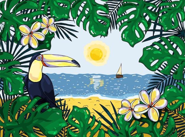 Sfondo tropicale colorato con toucan. illustrazione. per striscioni, poster, cartoline e volantini.