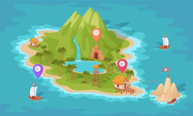 Disegno isometrico colorato dell'isola tropicale con segni di posizione illustrazione della mappa del tesoro