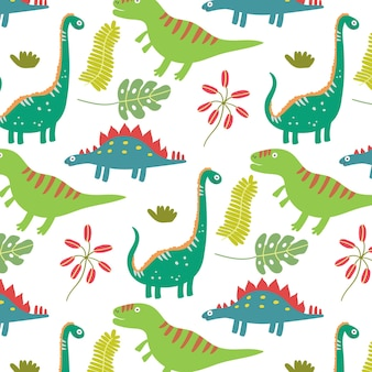 Modello senza cuciture di dinosauro di foglie tropicali colorate