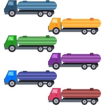 Camion colorati che trasportano asset gioco icona elemento olio