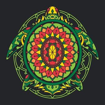 Illustrazione di tartaruga colorata mandala zentangle