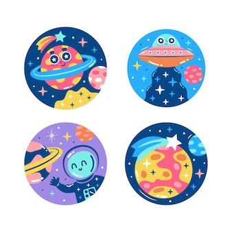 Collezione di adesivi colorati dell'universo