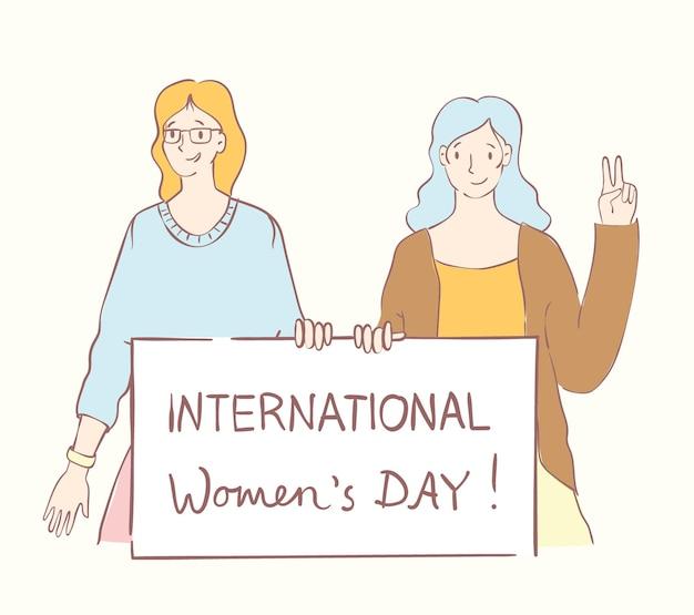 Colorate illustrazioni vettoriali concetto di felice giornata internazionale di una donna felice unione di amiche ...
