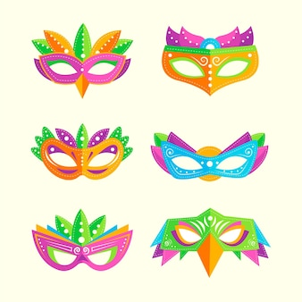 Maschere di carnevale veneziane colorate in 2d
