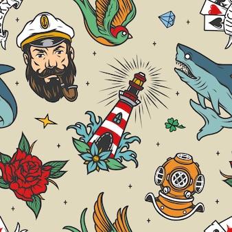 Modello senza cuciture nautico vintage colorato con testa di capitano di mare