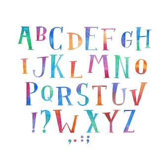 Colorato acquerello aquarelle tipo di carattere manoscritte disegnare a mano lettere alfabeto abc