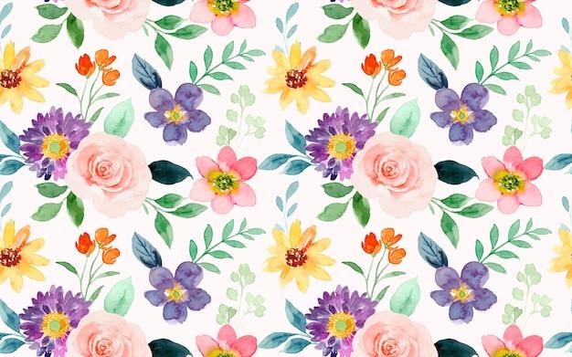 Reticolo senza giunte floreale dell'acquerello colorato
