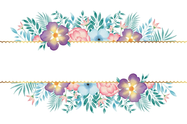 Sfondo colorato cornice ghirlanda floreale acquerello