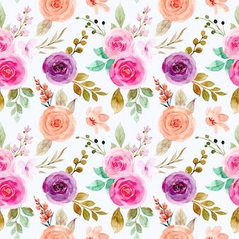 Reticolo senza giunte del fiore di rosa dell'acquerello colorato