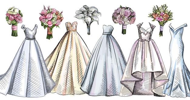 Insieme variopinto dell'acquerello di abiti da sposa e mazzi di fiori.