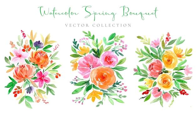 Collezione di bouquet primaverili colorati ad acquerello