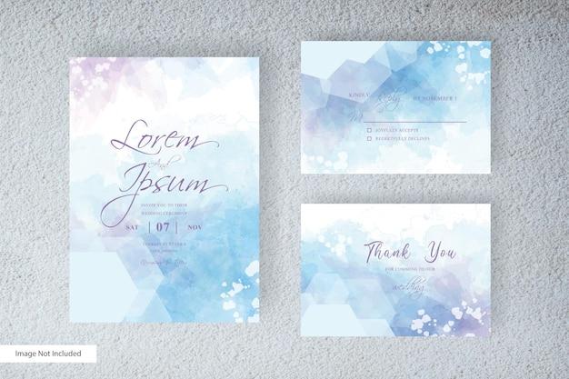 Carta di invito matrimonio acquerello colorato con stile elegante e acquerello liquido dipinto a mano astratto