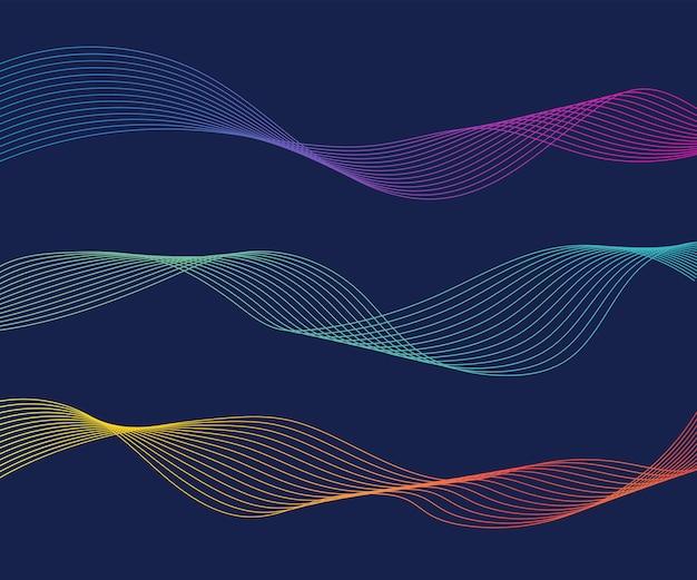 Linee d'onda colorate sfondo blu isolato linea ondulata curva sfondo astratto onda