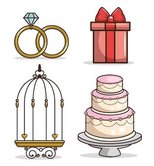 Set di icone di nozze colorate